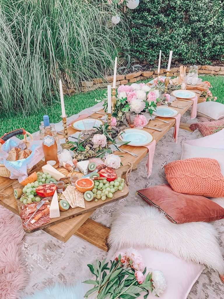 outdoor table setting with pink peonies