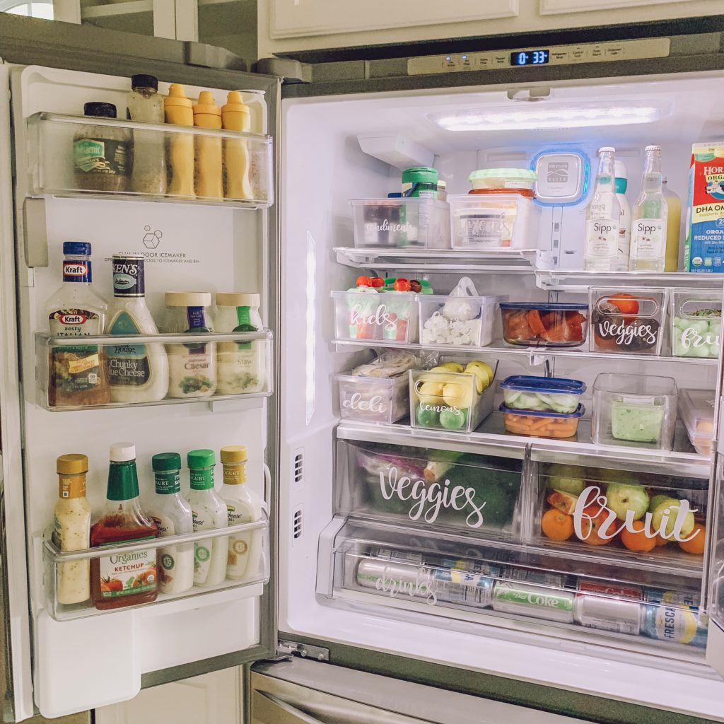 label bins to organize your fridge