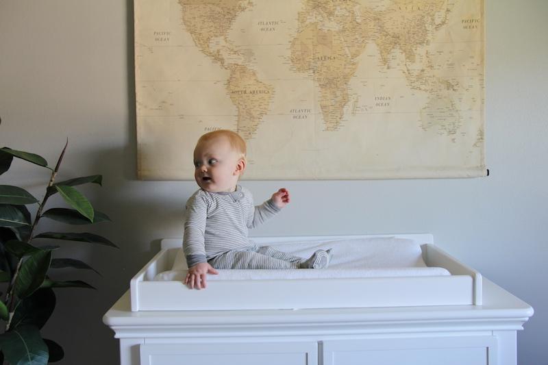 white modern farmhouse baby dresser