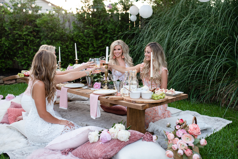 outdoor summer party with pillow seating