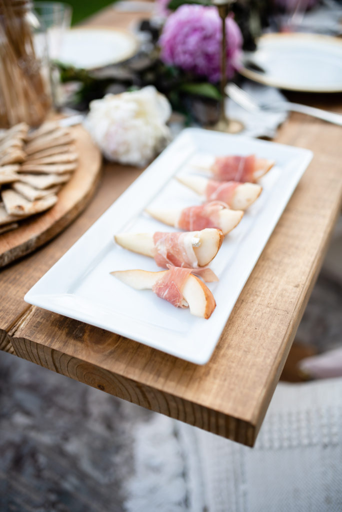 pears wrapped in goat cheese and panchetta