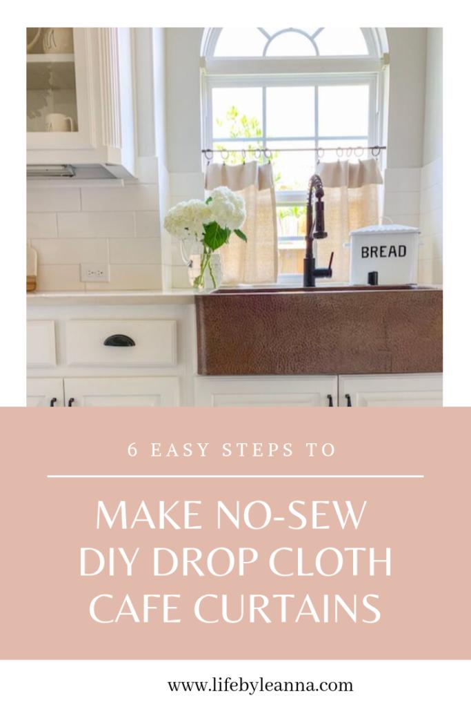6 easy steps to make no sew diy drop cloth curtains