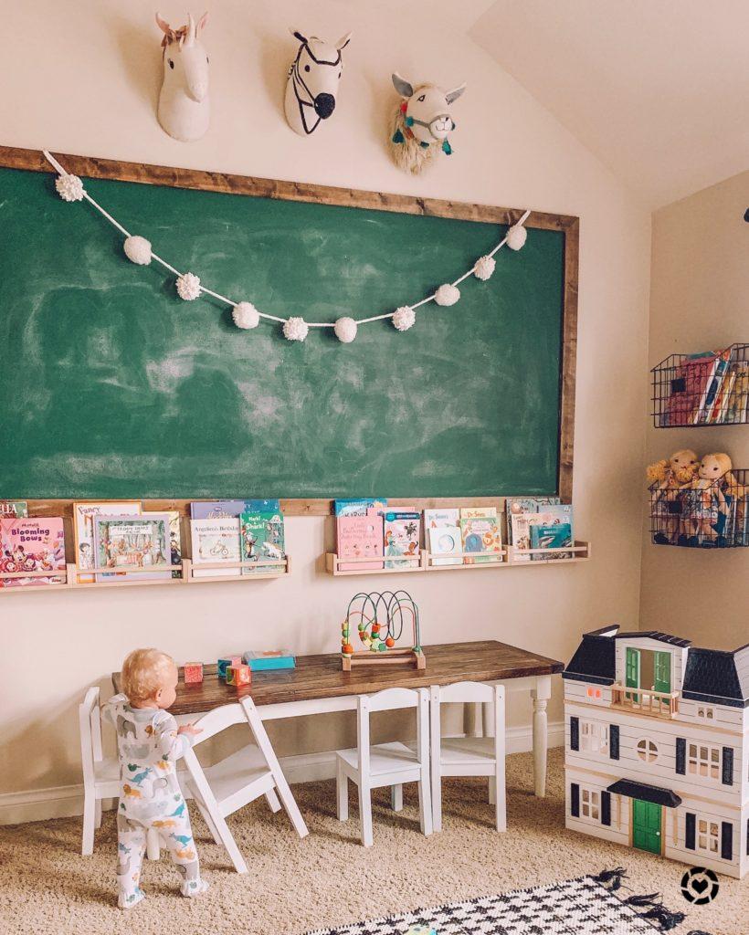 kids playroom home decor with green chalkboard wall