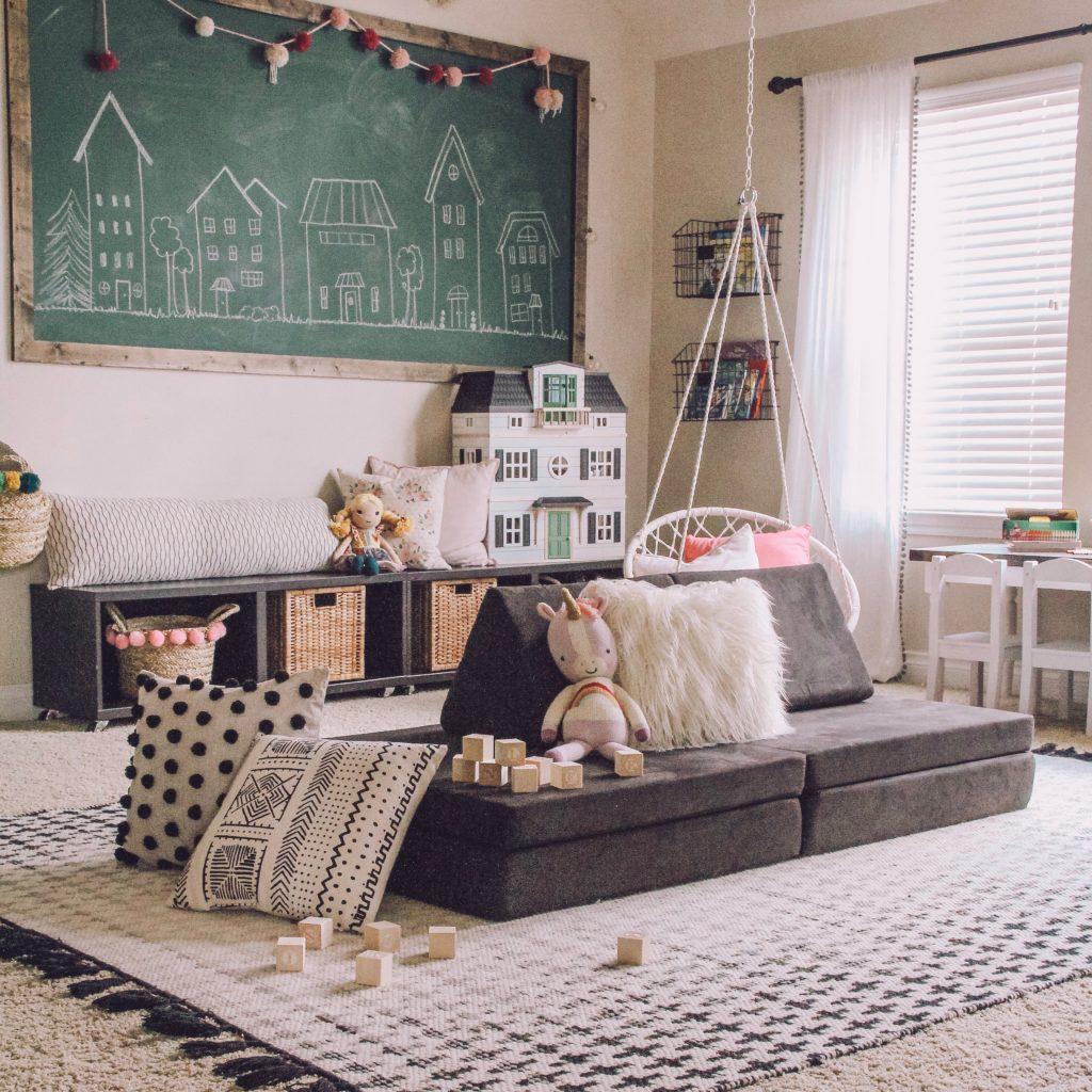 kids playroom with chalkboard wall