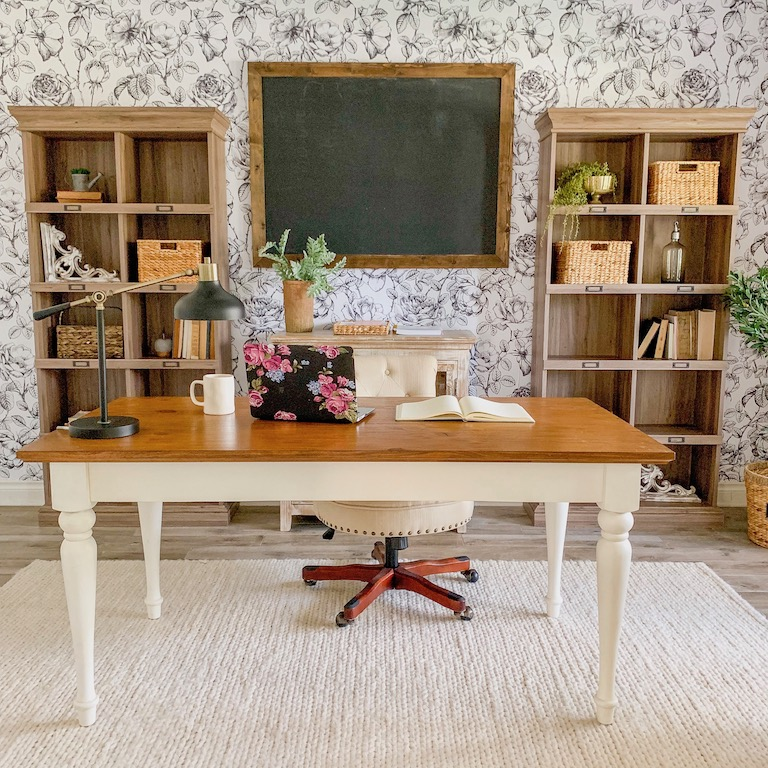 modern farmhouse office with black and white floral wallpaper