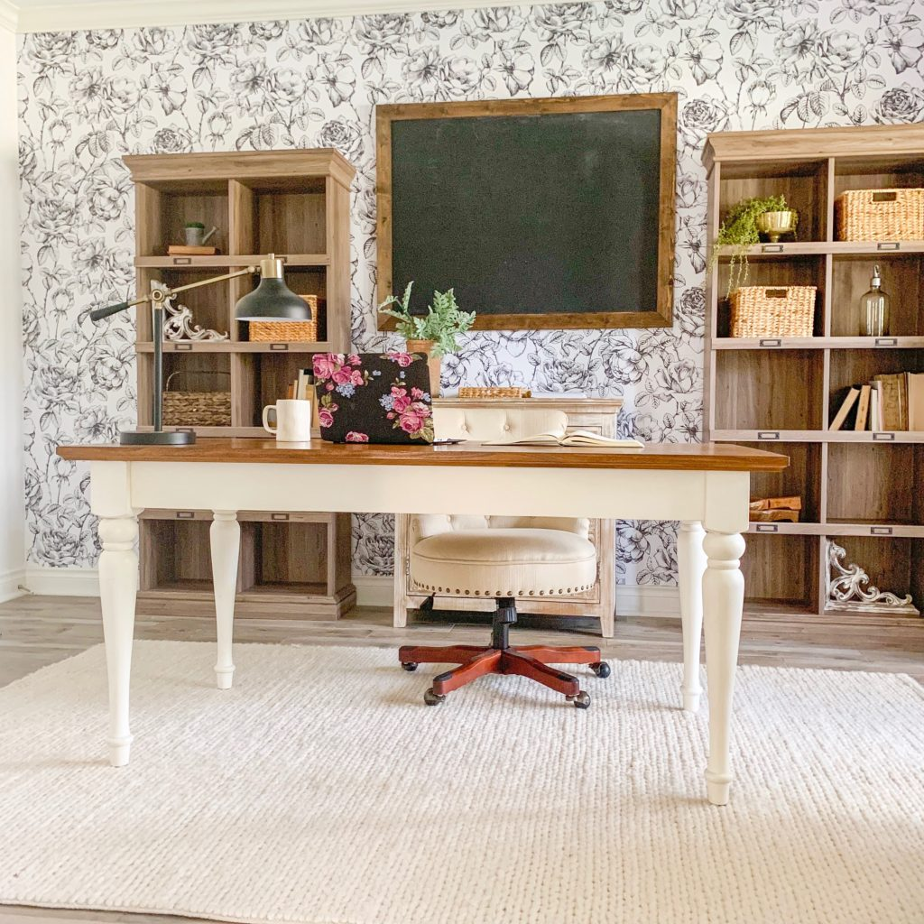 a modern farmhouse office with removable wallpaper