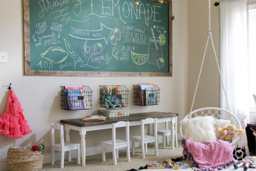 kids playroom with green chalkboard wall and hanging swing