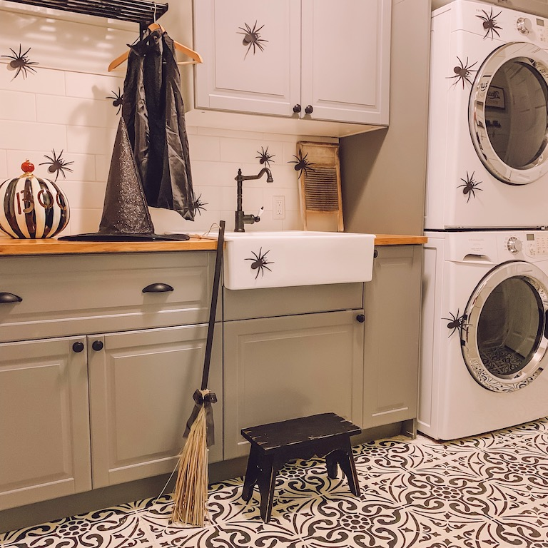 halloween laundry room with spiders