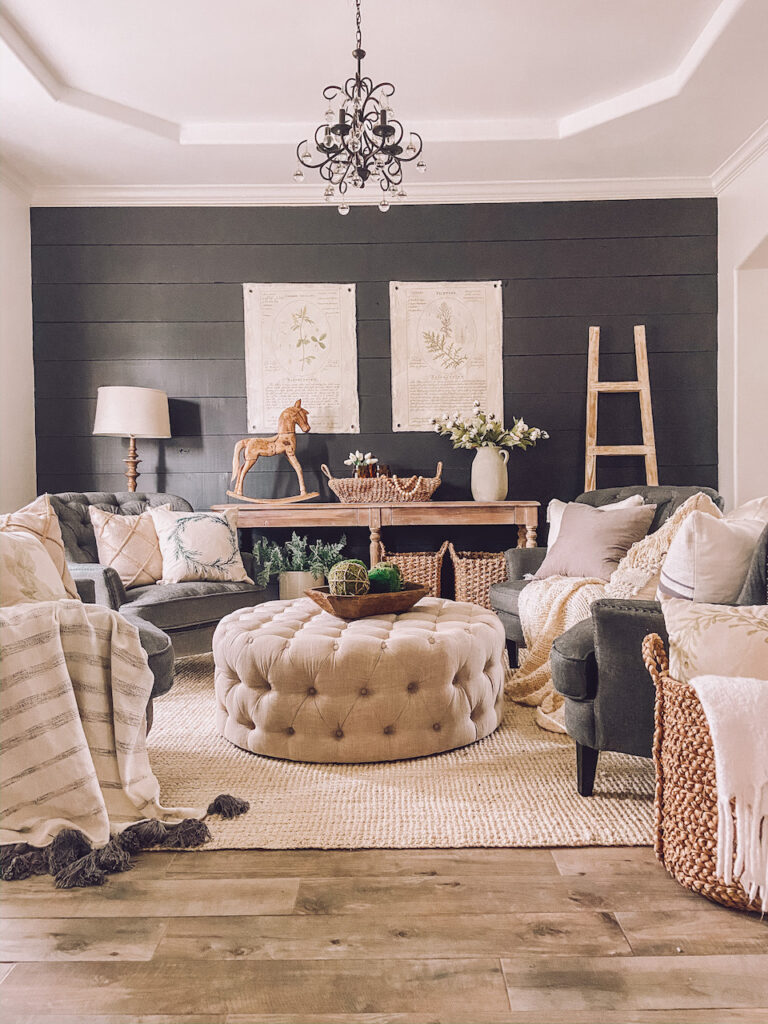sitting room decor farmhouse style with a dark contrast wall