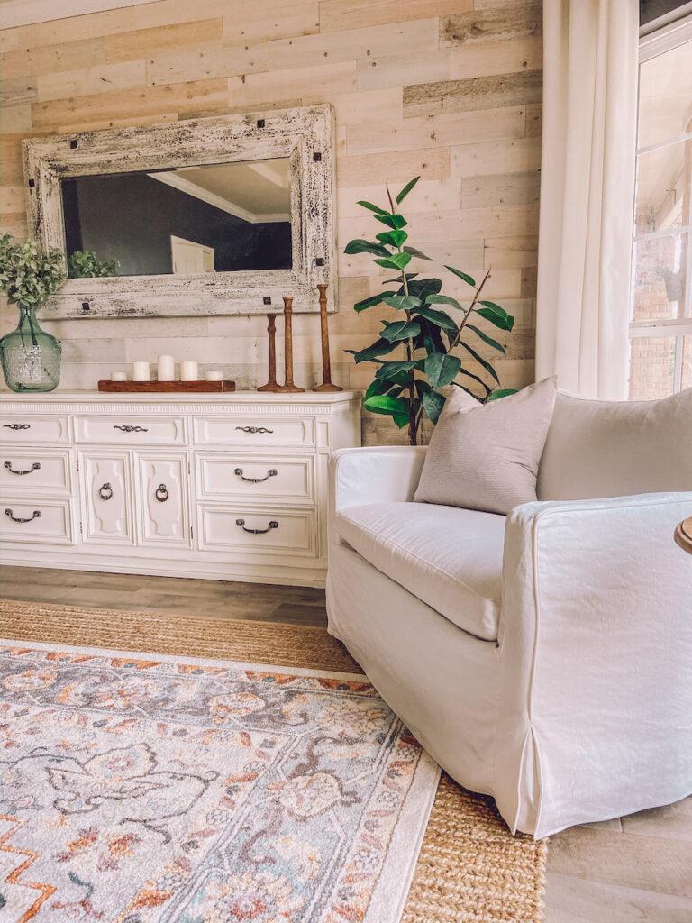 white cozy chair modern farmhouse