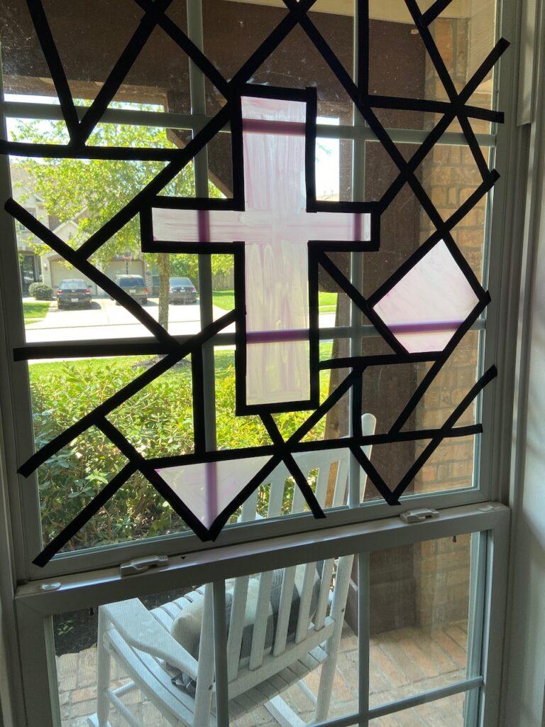 faux stain glass window