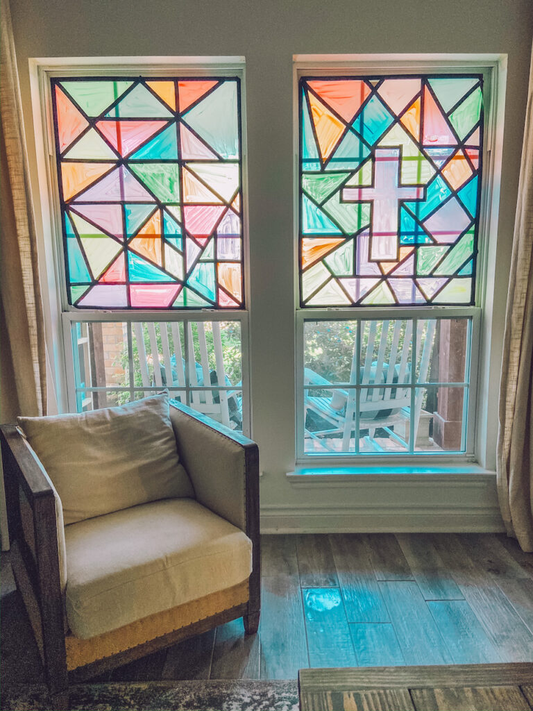 dit faux stained glass window