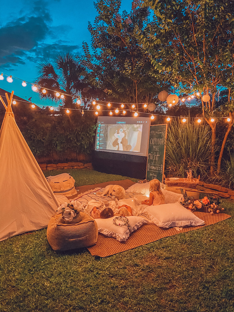 outdoor movie night at home