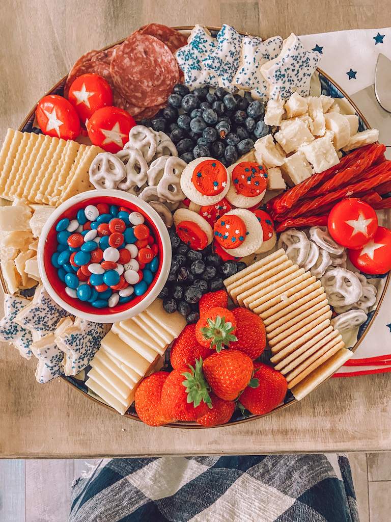 patriotic cheese and dessert board