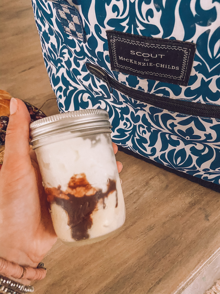 ice cream sundae in mason jar
