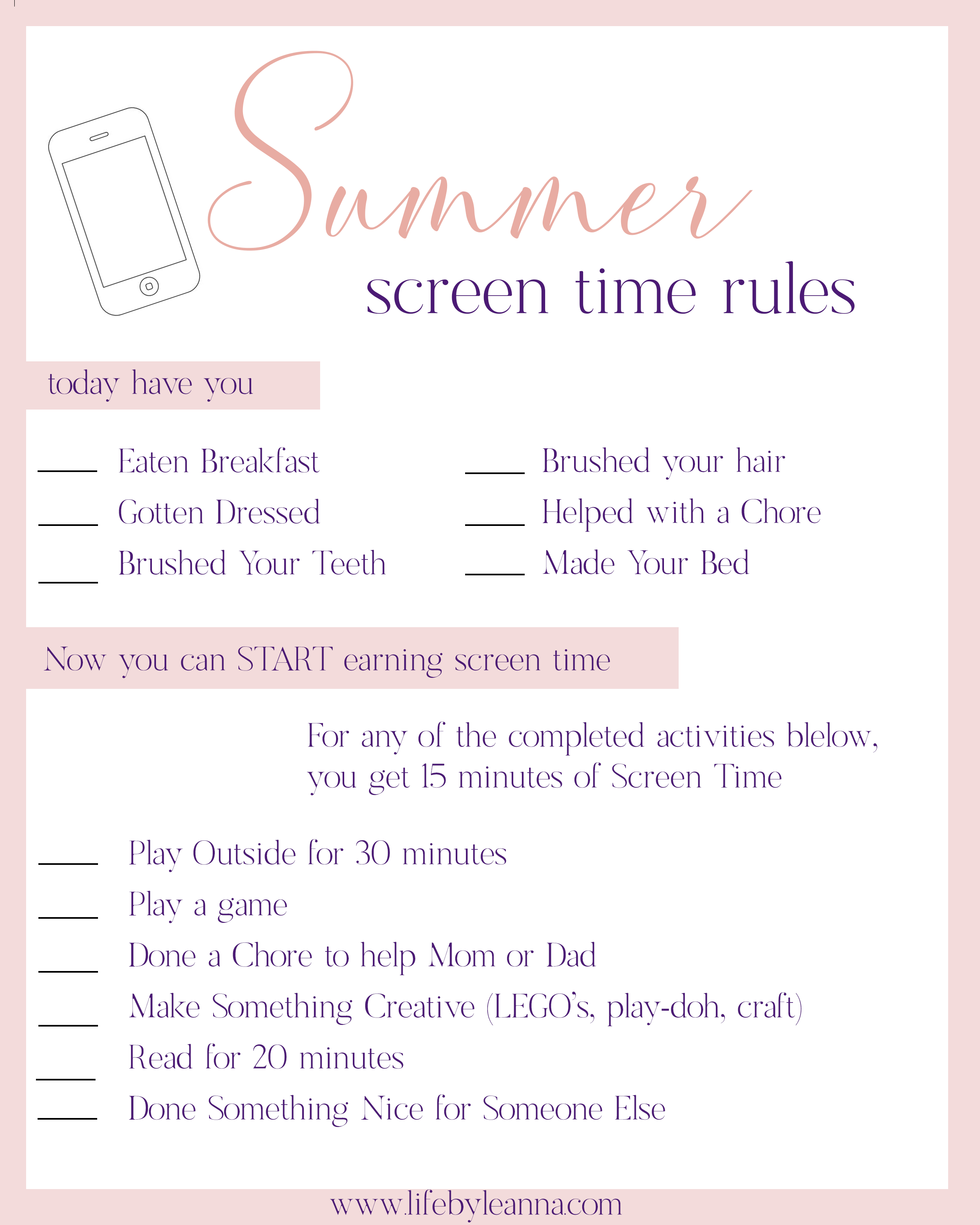 screen time summer printable