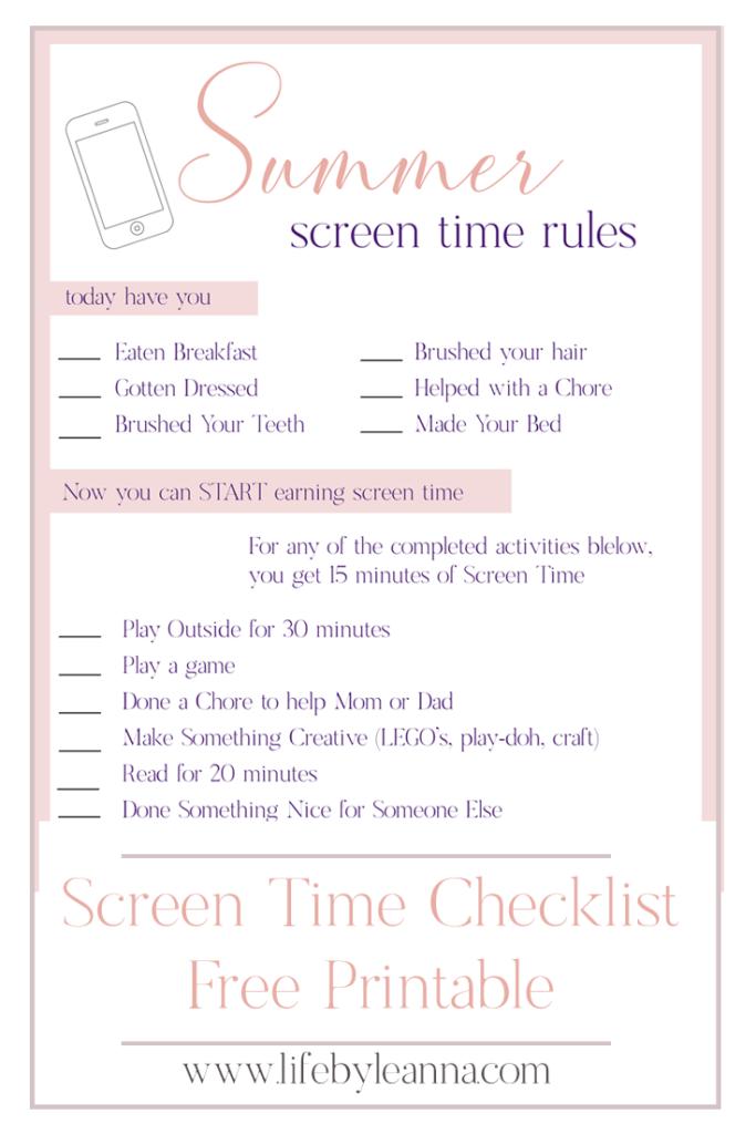screen time checklist printable
