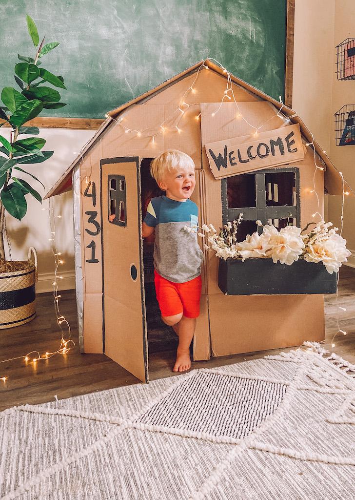 kids cardboard playhouse