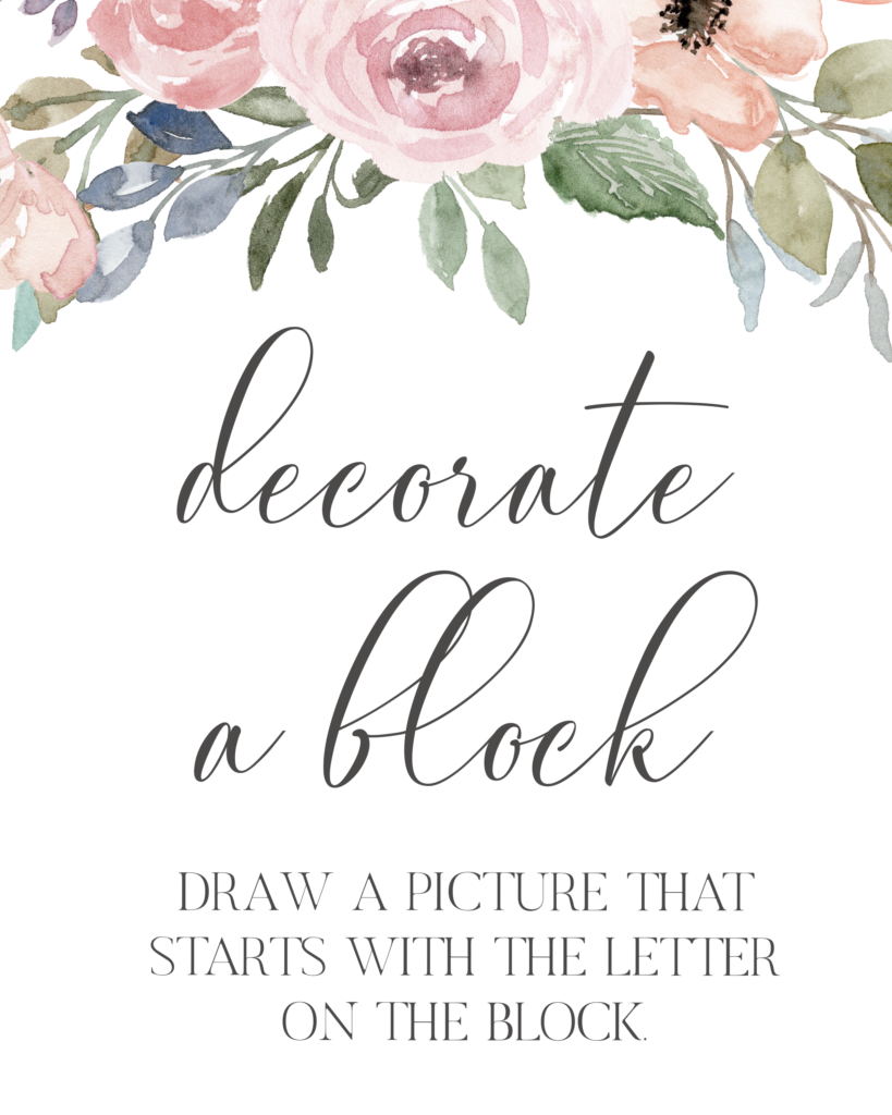 decorate a block baby shower game