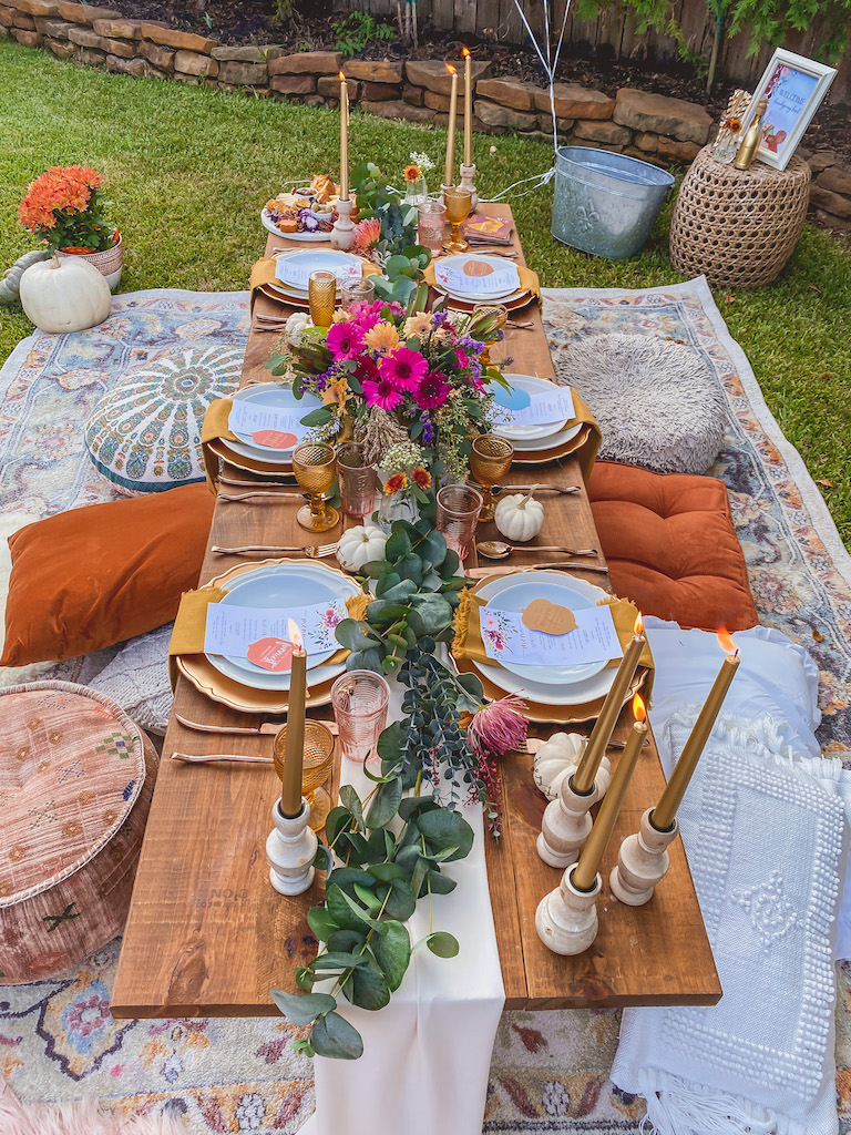 bohemian outdoor friendsgiving