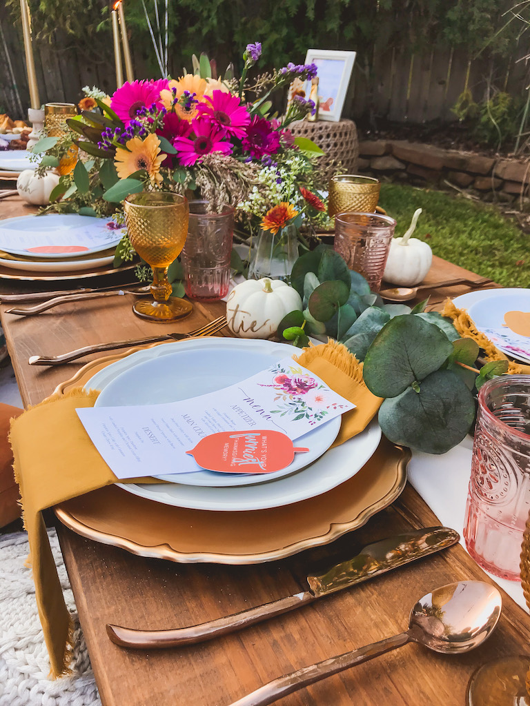 outdoor bohemian friendsgiving