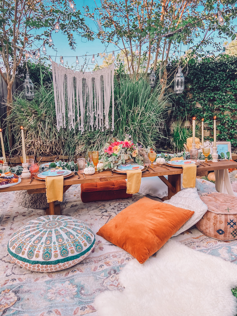bohemian friendsgiving outdoor