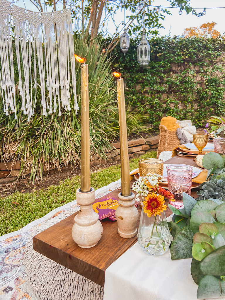 fall tablescape candles