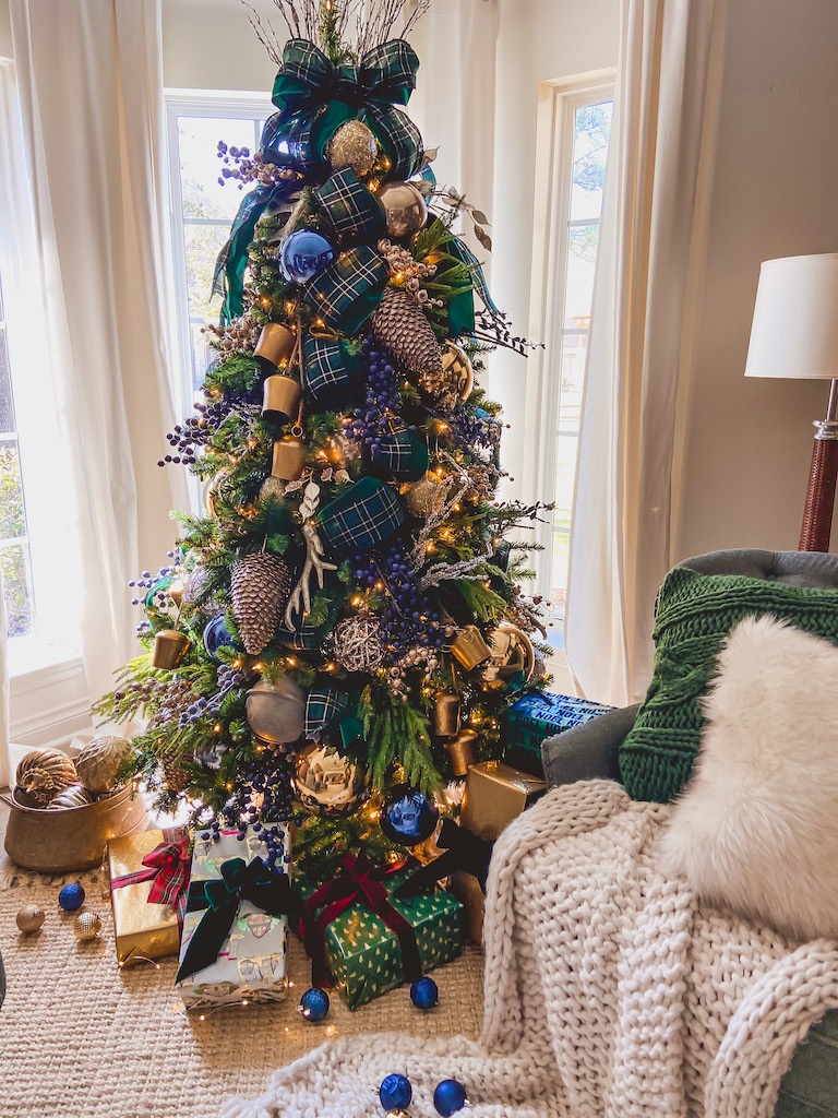 christmas decor blue and green gold