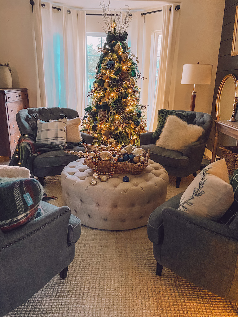 blue green and gold christmas tree