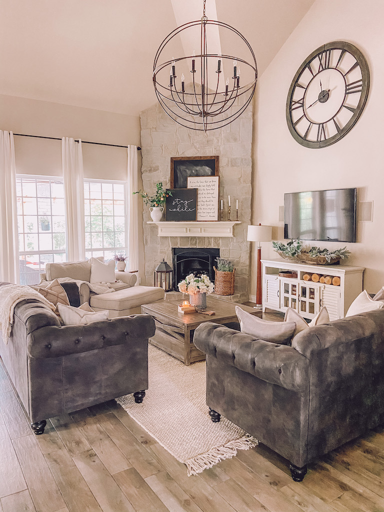 painted stone fireplace grey
