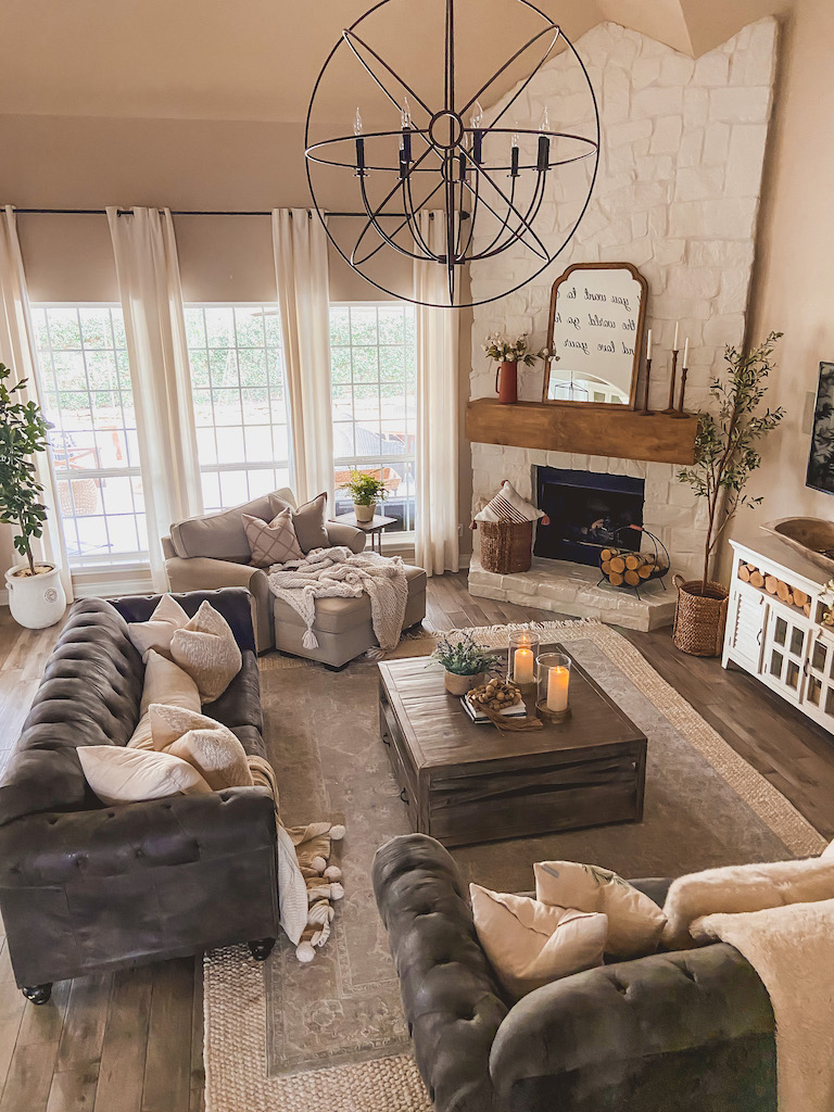 modern farmhouse style fireplace